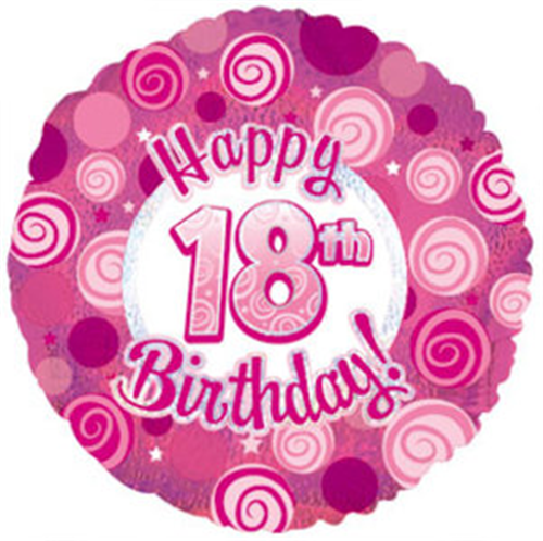 """Pink Happy 18th Birthday Balloon: 18"""" Foil Numbered Birthday"""