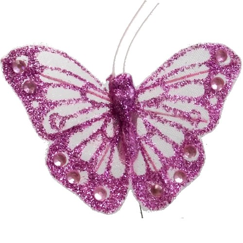 FEATHER BUTTERFLY ON WIRE PINK LILAC 12 X 7cm Wholesale Offer