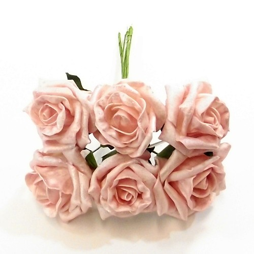 WHITE FOAM ROSES CHOOSE YOUR AMOUNT PRINCESS COLOURFAST 6 CM DIAMETER